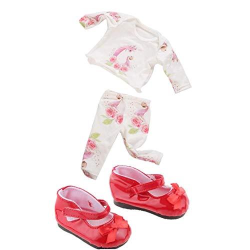 2 Juegos De La Muñeca De Ropa Y Accesorios Con Elementos De Estilo Popular De Vestir Princesa De 18 Pulgadas American Girl Muñeca De La Muchacha Zapatos De La Muñeca Del Bowknot Rojo 1 Par (2 Piezas)