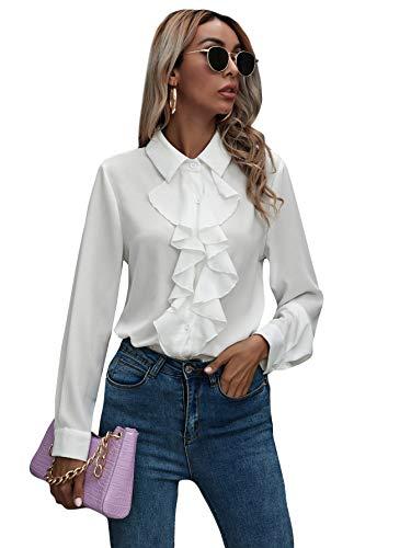 DIDK Damen Elegant Chiffon Bluse Business Schluppenshirt Stehkragen mit Rüschen Langarmshirts Oberteil Tops Weiß M