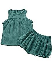 IUwnHceE Bebé del Equipo del Verano Traje de Lino sin Mangas Top Harem Pantalones Cortos para el niño Negro de 70 cm 2 Piezas de Traje de Verano Fresco