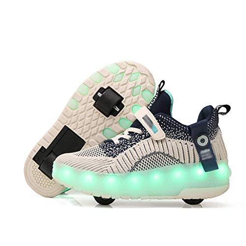 lei shop Wheelies Shoes for Girls LED Lights, PU Wear-Resistant Wheels, Detachable Wheels,Roller Skate Shoes