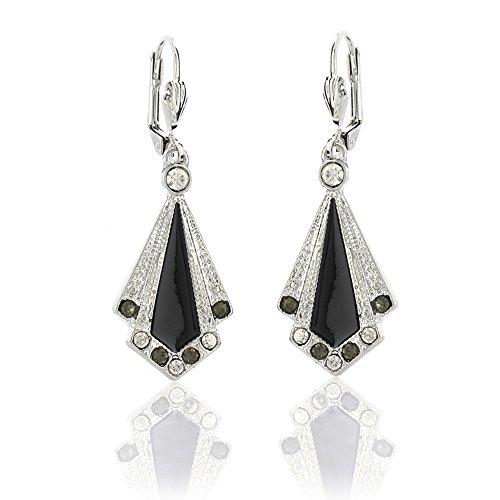 Art Deco Black Enamel Drop Earrings, 1920s style