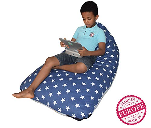DaMeru Stuffed Animal Storage Bean Bag Chair Finest Storage, Hammock & Organizer for Kids' Plush, Jumbo & Cuddly Toys | Premium Quality Cotton Canvas | Free E-Book (200 L/52 Gal, Navy & Grey)
