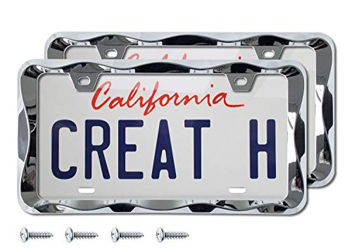 creathome 3D Curly Wave Pattern Chrome License Plate Frame from Pure Zinc Alloy Metal (2Pcs Package)