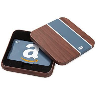 Amazon.com $50 Gift Card in a Brown & Blue Tin (Classic Blue Card Design)