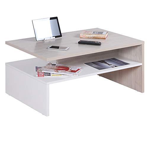 RICOO WM080-W-EP Kleiner Tisch 90 x 60 x 42 cm Holz Weiß und Eiche Hell-Braun Beige Fernseher TV Wohnzimmer-Tisch Couch-Tisch mit Stauraum