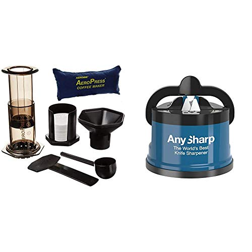 Aeropress 82R08 Coffee Maker with Tote Bag - Black & AnySharp Knife Sharpener with PowerGrip, Blue