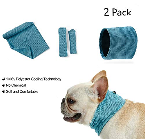 RC GearPro 2 Pak Hond Koelen Bandana Instant Koelen Huisdier Bandana Hond Sjaal Bulldog Zomer Koeling Handdoek Wrap, S