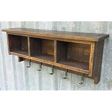 Rustic Industrial Shelf Cubby Coat Rack