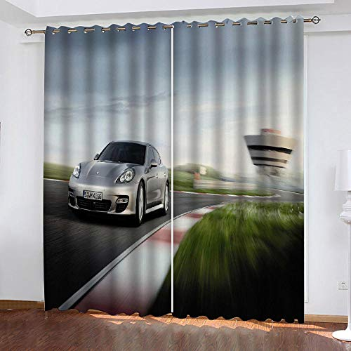 LOVEXOO curtain drapes car 28.54'x96.46' Blackout Curtains 2 Panels Set Thermal Insulated Window Treatment Solid Eyelet Darkening Curtain for Living Room Bedroom Nursery