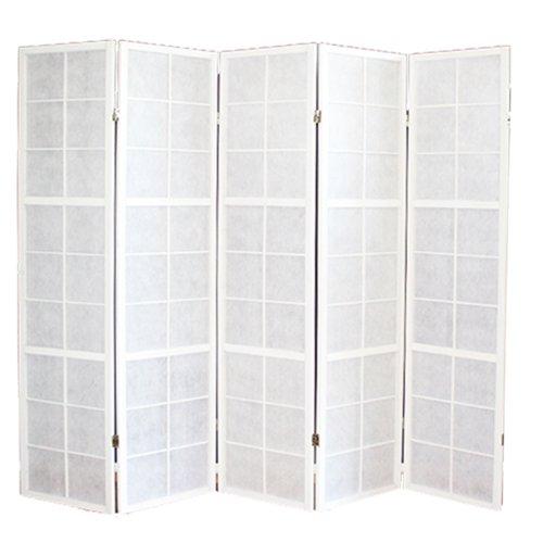 PEGANE Biombo japonés Shoji de Madera Blanco de 5 Paneles