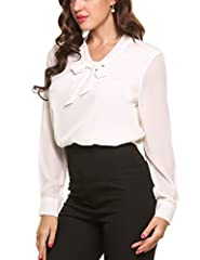 ANGVNS Womens Casual Chiffon Ladies V-Neck Cuffed Sleeve Blouse Tops (XX-Large, White) #4