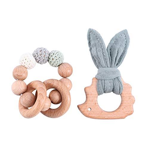 Mamimami Home 2pc Baby Silikon Beißring Bunny Ahorn Holz Bio Tier Häkeln Perlen DIY Schmuck Handgefertigte Armband Kinderkrankheiten Spielzeug Baby Dusche Geschenk Shower (Grün)