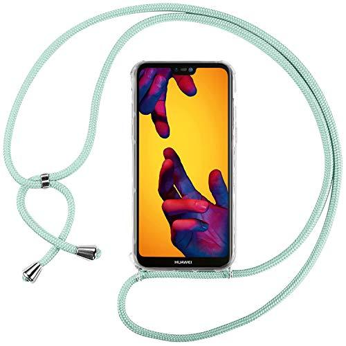 Ingen Funda con Cuerda para Huawei P20 Lite - Carcasa Transparente TPU Suave Silicona Case con Colgante - Verde