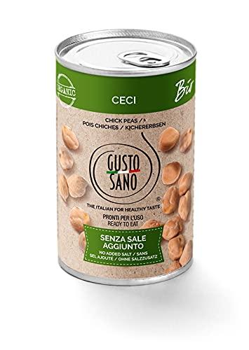 GUSTO SANO – CECI BIO 100% ITALIANI GIA' PRONTI - Senza Sale Aggiunto – Ceci in scatola lessati e reidratati –NON OGM – Comoda scorta da 6 confezioni x 400 gr.6 Pacchi X 400 Gr.