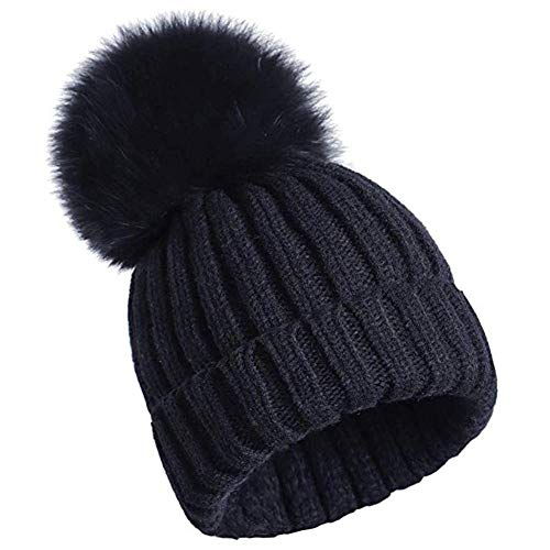 feifanshop Damen Echtfell Fuchspelz Fell Pelz Bommel Strick Mütze Winter-Mütze Bommelmütze (schwarz)