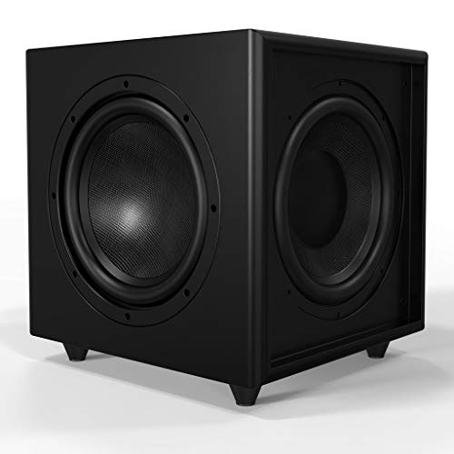 "OSD Black Trevoce Triple 10"" Home Theater 500W Powered Subwoofer, Faux Leather Finish"