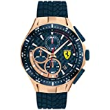 Ferrari Men's Race Day Stainless Steel Quartz Watch with Silicone Strap, Blue, 22 (Model: 0830699)