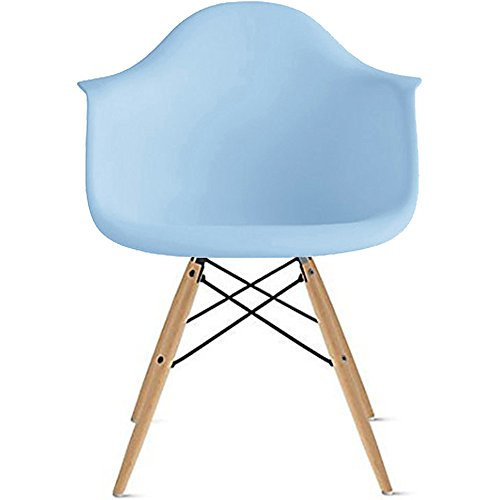 2xhome Mid Century Modern Dining Arm Chair with Natural Wood Legs, Blue