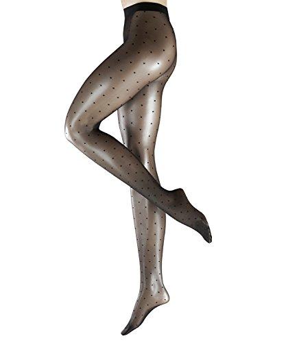 FALKE Damen Strumpfhosen Dot 15 Denier - Transparente, Matt, 1 Stück, Schwarz (Black 3009), Größe: S