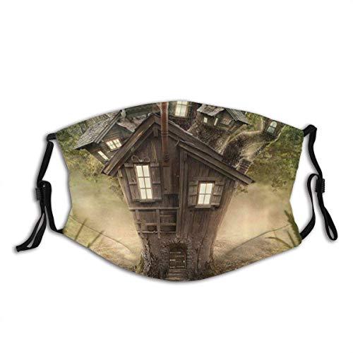 Olive Croft Gesichtsschutz Mund Scraf Mystic Fantasy Tree House in den geheimnisvollen Waldfenstern und Schornstein mit Filter