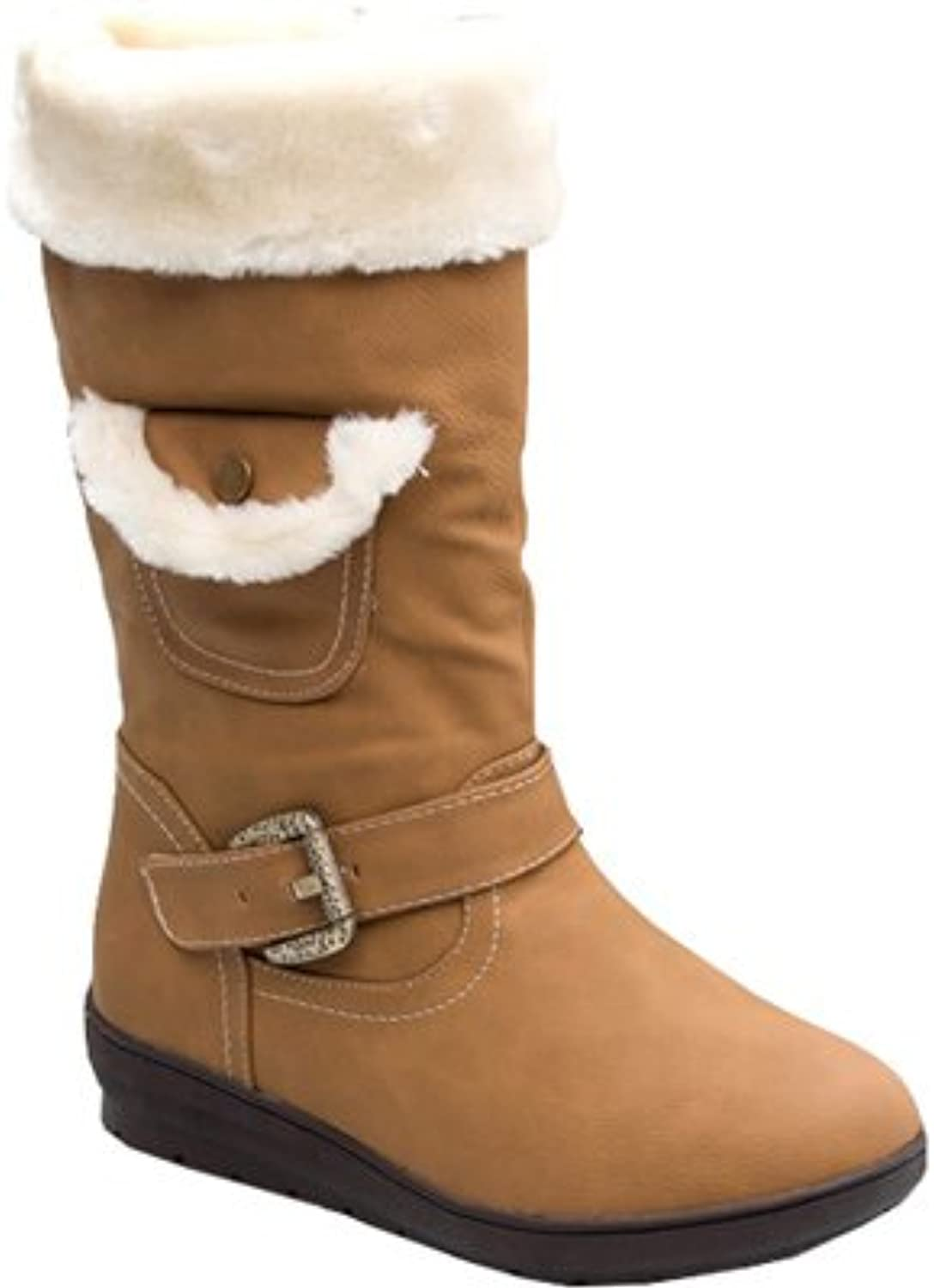Reneeze Womens Coco-3 Faux Fur Mid Calf Boots
