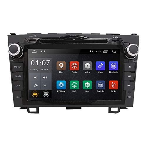 Hizpo - Radio de Coche con Reproductor de DVD y Radio de 8 Pulgadas, conexión de Espejo GPS, Bluetooth, SD, USB, WiFi, Dab y cámara de Control del Volante para Honda CRV 2007 2008 2009 2010 2011