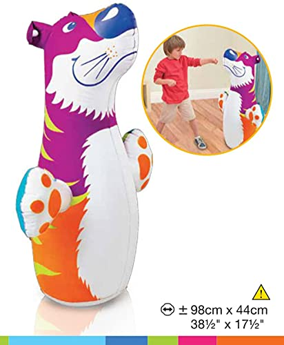 NHR Hit Me Inflated Toy for Kids Inflatable Tiger Toy Water Filled Base BOP for Toddlers PVC Punching Bag for Kids (Multi)