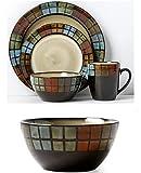 Piatto Da Tavola In Ceramica, Dinnerware Ciotole Piatto Da Bistecca A Quadrati Colorati-Ciotola da 6 pollici