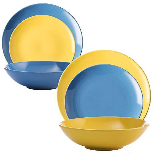 UNITED COLORS OF BENETTON. PK2169 Set Color Combinado Azul y Amarillo, en Loza: vajilla de 36 Piezas para 12 Servicios Llano, Hondo y Plato de Postre, Gres