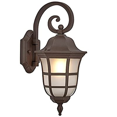 Traditional Gooseneck Outdoor Light | Classical Oiled Bronze Finish with Frosted Glass | Exterior Lighting LED Bulb 2700K Included