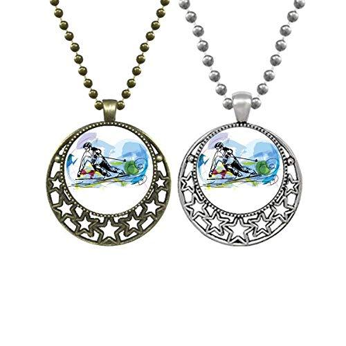 Deportes de invierno Esquí Atletas Freestyle Esquí Amantes Collares Colgante Retro Luna Estrellas Joyería