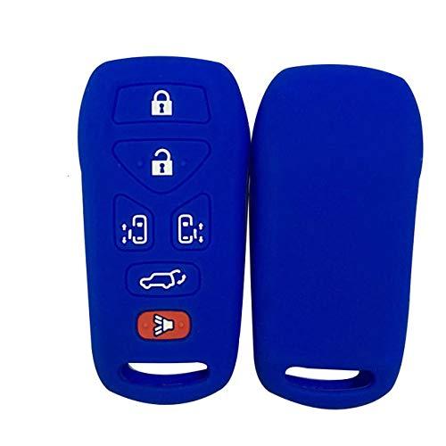RWJFH Funda de Silicona para Llaves Cubierta de Llave de Gel de sílice para Nissan Quest Control Remoto Inteligente Accesorio de Llave Soporte Protector Funda con Tapa abatible, Azul