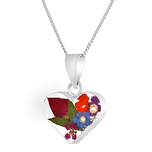 Byzantium Collection Handmade Silver Heart Rosebud Mix Necklace made with Real Flowers - Pendant comes with 18' Sterling Silver Chain and Velveteen Pouch