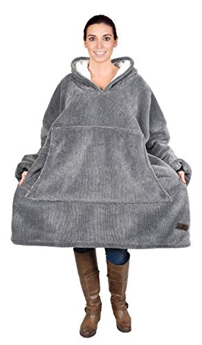 Catalonia Oversized Hoodie Blanket Sweatshirt, Comfortable Sherpa Giant Pullover with Large Front Pocket for Adults Men Women Teenagers Wife Girlfriend