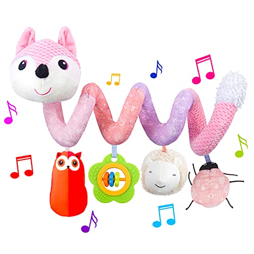HILENBO Car Seat Toys, Infant Baby Pink Fox Spiral Plush Activity Hanging Toys for Car Seat Stroller Bar Crib Bassinet Mobile with Music Box BB Squeaker and Rattles(Pink)