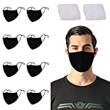 RUNHOOD 8 Pack Unisex Cotton Face Mask ,Reusable Washable Adjustable 3 Ply Mouth Covering With 16 Pcs Replacement PM2.5 Carbon Filters for Men and Women Outdoor Activitics