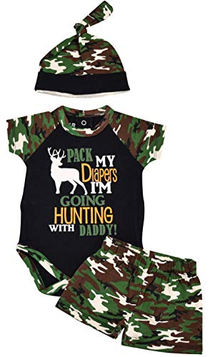 Unique Baby Boys Hunting with Daddy Camo Onesie Bodysuit Outfit (12 Months)