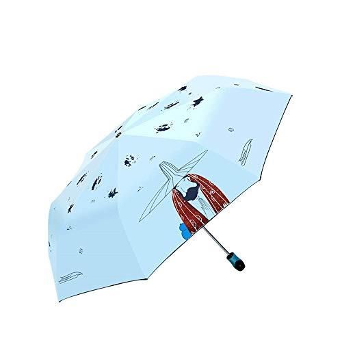 DZNOY Paraguas Plegables Totalmente automático Triple Plegable Lluvia y Sol Hombres y Mujeres protección Sol Sol sombrilla sombrilla (Color : Sky Blue)