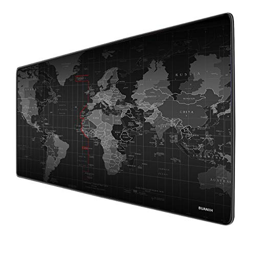 BUANIIH Large Gaming Mouse Pad with Nonslip Base, Extended Mouse Pad XXL, Portable & Foldable Gaming Mouse Pad for Computer Keyboard, PC & More, Enjoy Precise & Smooth Operating Experience(World Map)