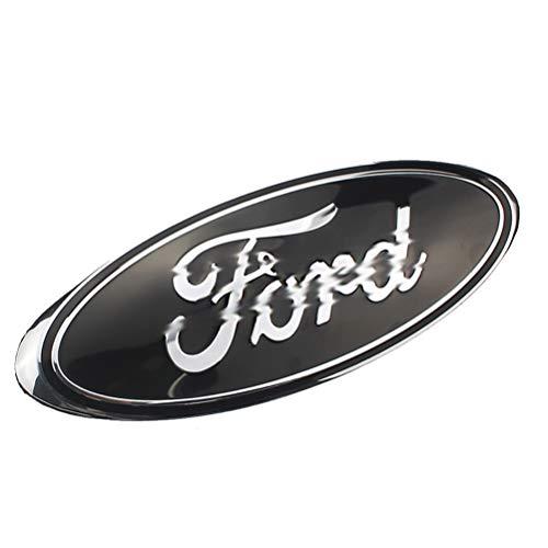 FORD Car Decorative Logo- Accesorios de montaje de la parrilla delantera de Ford, logotipo galvanizado aplicable a Ford (negro)