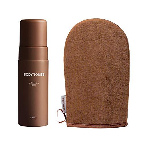 Body Tones Zelfbruiner mousse en handschoen voor een lichte huid, Zelfbruiner anti-veroudering, zelfbruinend natuurlijk schuim zonder blootstelling aan de zon (155 ml met Handschoen, Lichte huid)