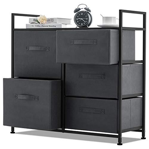 APICIZON Drawer Dresser Organizer Unit, Storage Tower Fabric Dresser with 5 Drawers, Closet & Nursery Organizer Steel Frame Cabinet for Hallway, Bedroom, Living Room