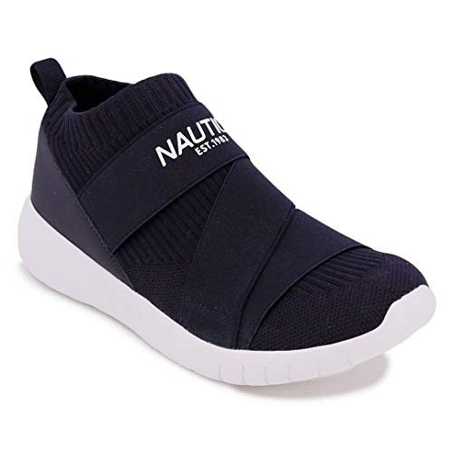 Nautica Women Vivien Fashion Slip-On Sneaker Comfort Running Shoes with High Sock and Thick Heel-Navy-9