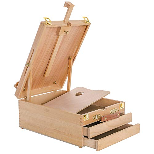 U.S. Art Supply Grand Cayman Extra Large 2 Drawer Adjustable Wood Table Sketchbox Easel, Paint Palette, Premium Beechwood - Portable Wooden Artist Desktop Case - Store Art Paint, Markers, Sketch, Draw