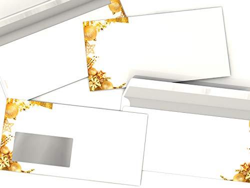 Navidad de sobres Goldene gaben, Juego de 10, DIN largo, compatible con...