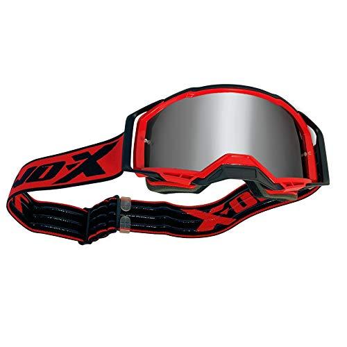 TWO-X ATOM - Gafas de cross rojas - INFERNO con efecto espejo plateado MX Gafas de protección nasal para motocross Enduro Gafas de moto anti arañazos MX