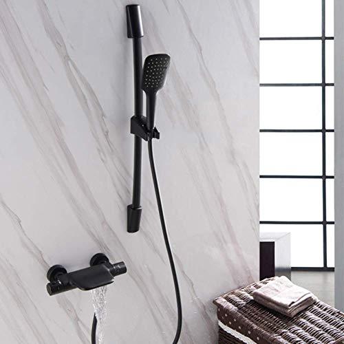 Douchegoot thermostaatkraan voor badkamer verborgen inbouw in puur zwart waterval badkuip waterkraan mengkraan Zwart