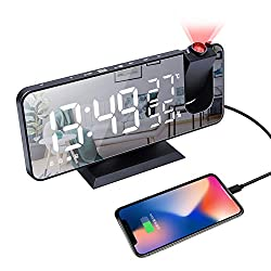 """Projection Digital Alarm Clock for Bedrooms, Radio Alarm Clock with Projection on Ceiling, Dual Alarms, USB Charger Port, Temperature & Humidity Display, 7.3"""" Large Mirror LED Display Loud Alarm Clock"""