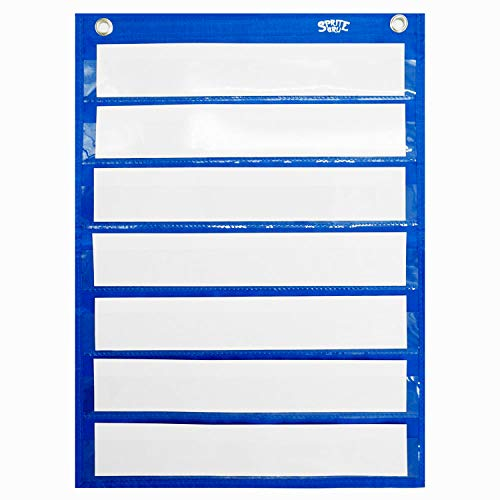 Magnetic Pocket Chart with 10 Dry Erase Cards for Standards Daily Schedule Activities Class demonstrations (Blue)