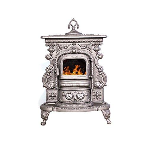 Poêle à bois en fonte Gerkand, modèle Irezida + cadeau Accessoires, Puissance 8kW, Chargement en façade Verre céramique Échappement Gaine ø130 derrière